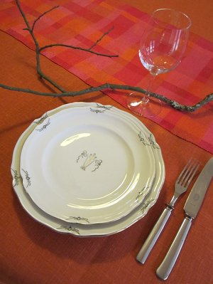 Linen tablecloth, linen rust orange