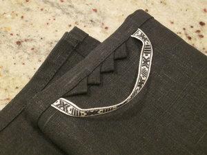 Towel, black star in linen